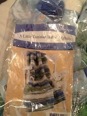 "NIP 'A Little Tunisian' Baby Afghan Crochet Kit  30"" X 36""  Blue/Green/White"