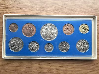 1953 Ten Coin Set - Farthing to Crown - Mounted In a Perspex Display Case