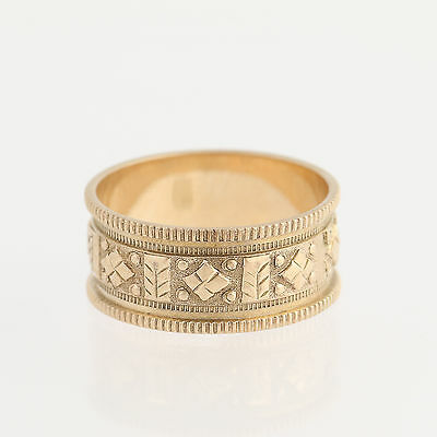 Victorian Band Ring - 10k Yellow Gold Wedding Women's Antique Size 6 1/4