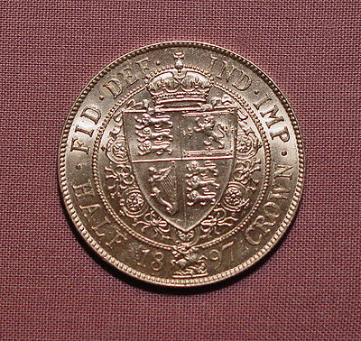 1897 QUEEN VICTORIA VEILED HEAD HALFCROWN - near UNC With Full Lustre