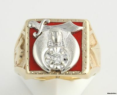 Genuine Diamond Shriners Vintage Ring - 10k Solid Yellow & White Gold Band 11+g
