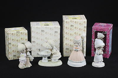 Precious Moments Figurines Lot Of 4 W/ Boxes Light Of The World Jesus Music Box