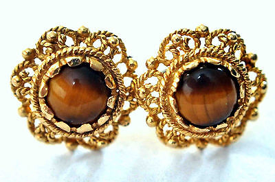Antique Victorian 14K Solid Gold Tiger Eye Filigree Earrings