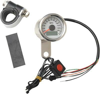 "DS Programmable Mini Electronic Speedometer 1.87"" Pol w/White Face"