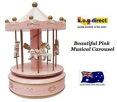 Musical Carousel Painted Wood Merry Go Round 4 Horses Pink 18Cm Rm0942