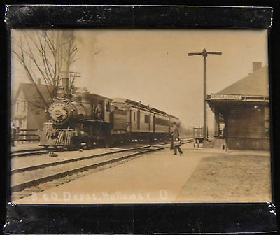"2x3"" Steam Train Historical Photo MAGNET B&O Locomotive at Station Holloway Ohio"