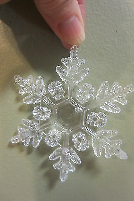 "NIP set of 10 HOME SNOWFLAKE CHRISTMAS TREE ORNAMENTS 4"" CLEAR ACRYLIC"