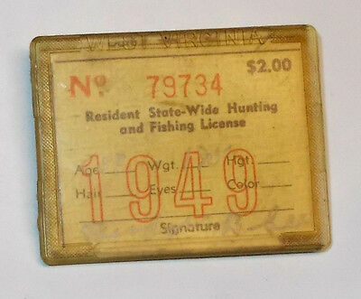 Vintage 1949 West Virginia Resident State-Wide Hunting & Fishing License
