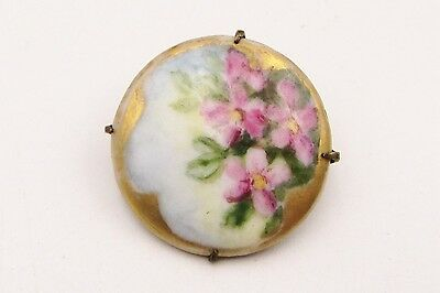 Antique Hand Painted Pink Flowers Limoge Style Porcelain Pin