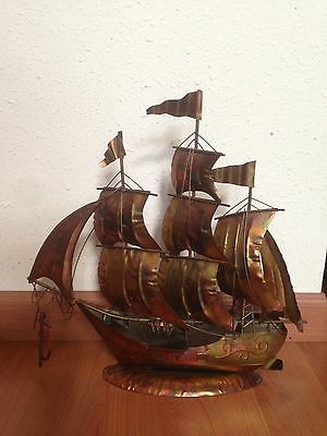 Vintage Metal Ship Sculpture Copper or Brass Mid Century Sail Boat W Anchor Rare