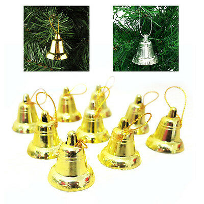 9PCS 3cm*4cm Plastic Golden/silver Bell Christmas Tree Party Decor Opening Bell