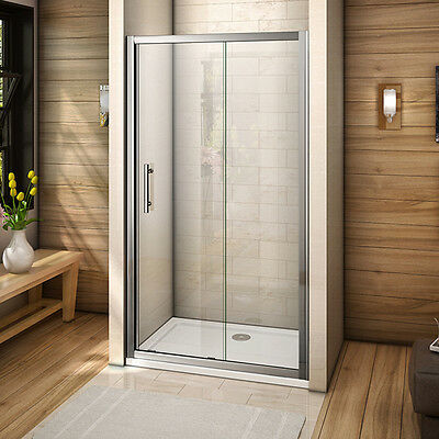Aica sliding shower enclosure walk in door cubicle screen 6mm tempered glass