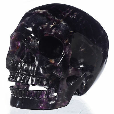 "5"" Natural Purple fluorite Carved Singing Skull,Collectibles#22D11"