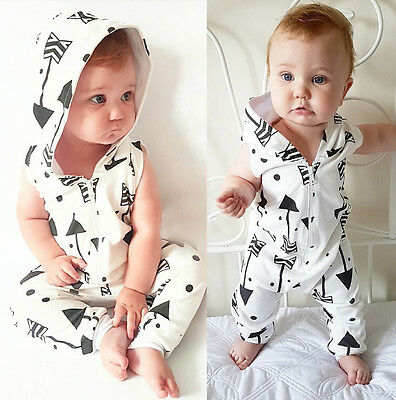 Infant Baby Boy Kid Hooded Sleeveless Bodysuit Romper Jumpsuit Outfits Clothes