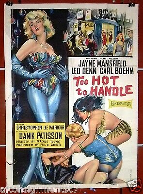 TOO HOT TO HANDLE {Jayne Mansfield} Egyptian Original Film Poster 60s