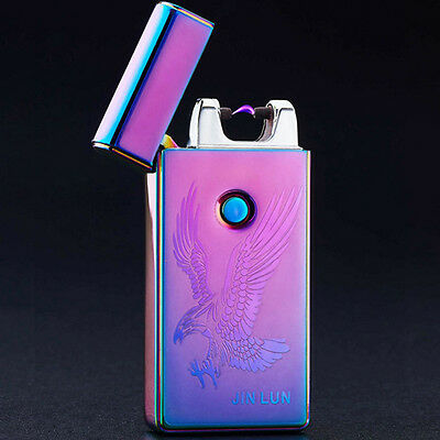 Electric Flameless Plasma Rechargeable Lighter Windproof USB Cigarette Dual Arc