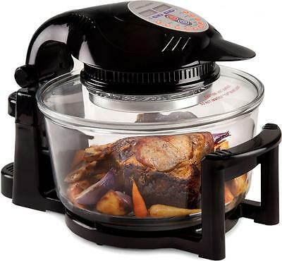 Andrew James 12L Halogen Oven Hinged Lid 9 Accessories 5L Extender Ring Black