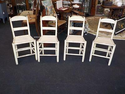 Antique / Vintage Set Of 4 Pine Painted Country Kitchen Chairs
