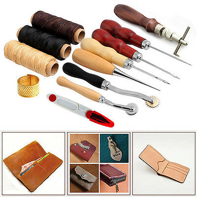 14X Leather Craft Hand Stitching Sewing Tool Thread Awl Waxed Thimble Kit Comely