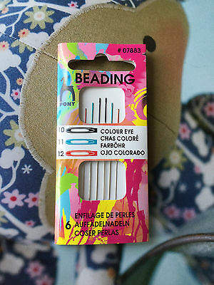 PONY - COLOUR CODED BEADING NEEDLES. Sizes 10/11/12.   x6 NEEDLES INCLUDED.