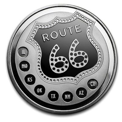 1 Unze Silber Round Route 66 Get Your Kicks on Route 66