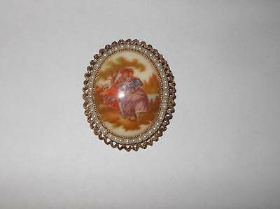"Vintage Signed DENISE Oval CAMEO Brooch Pendant  1 3/4"" x 2 1/2"""