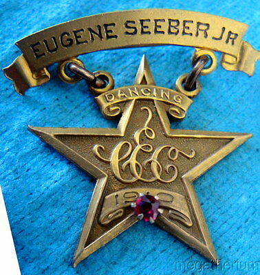 1910 Dancing Award Pin Badge Medal: Star-Shaped w/Red Ruby; Terrific Collectible
