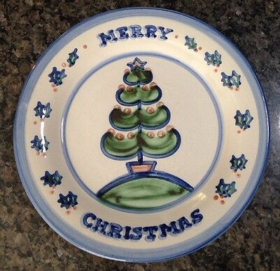 "M.A. Hadley Pottery Merry Christmas Tree Large 13"" Round Serving Platter / Plate"