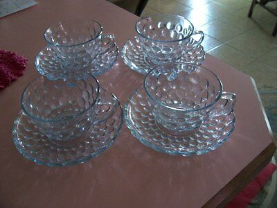 Bubble blue cups and saucers (4 pair)