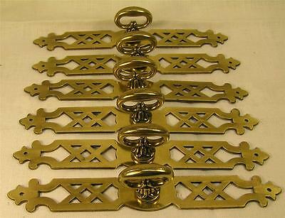 "5 Vintage Style Brass Handles Pulls Knobs 6"" long Cabinet Furniture Hardware"