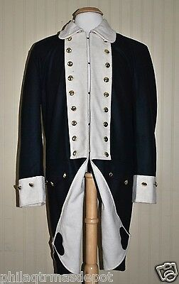 Revolutionary War Continental Army Frock Coat Blue w/White Collar - Size 42