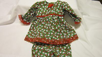 """Green Tiny Snowmen Dress/Bloomers Fits 17"""" Lee Middleton, 15"""" AG Bitty Baby"""