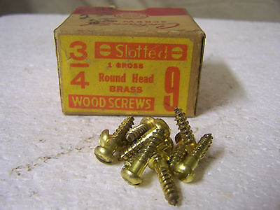 """#9 x 3/4"""" Round Head Brass Wood Screws Solid Brass Slotted-Made in USA  Qty.125"""