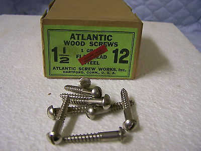 "#12 x 1 1/2"" Round Head Nickel Plated Wood Screws Slotted Made in USA Qty. 144"