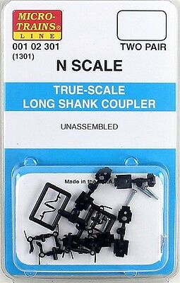 Micro Trains 00102301 N Scale (1301) True-Scale Coupler w/Long Shank (2 Pair)