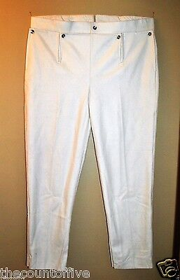Revolutionary War Trousers w/Drop Front Panel - White Wool - Size 36