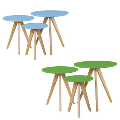 Nest of Tables Scandinavian Retro Furniture Side Coffee Table with Solid Oak Leg