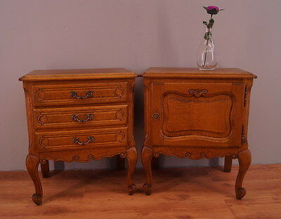 1090 !! Superb Oak Bedside Tables In Louis Xv Style !!