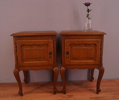 1093 !! Superb Oak Bedside Tables In Louis Xv Style !!