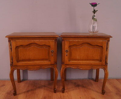 1101 !! Wonderful Oak Bedside Tables In Louis Xv Style !!