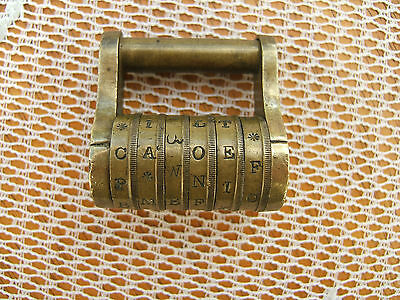 Antique  Victorian Brass 6 Letter Combination Word Padlock...  With Code!!...