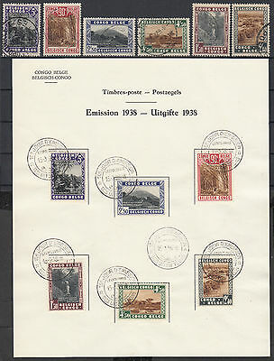 H5 - Belgian congo 1938 FDC sheet + complete set used