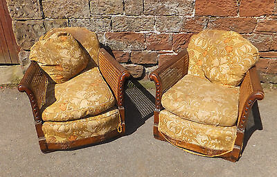 2 BERGERE CARVED Antique LOUNGE Armchairs LOW Rattan SIDES W/ CUSHIONS High BACK