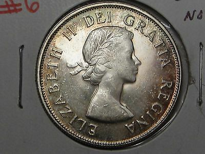 VARIETY: 1953 SM-NSF Silver Canadian Fifty-Cent. 50c. CANADA.  #6