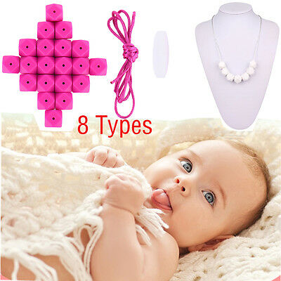 20X Chain Baby Teething Necklace Teether Cute Charm BPA-Free Beads Silicone Chew