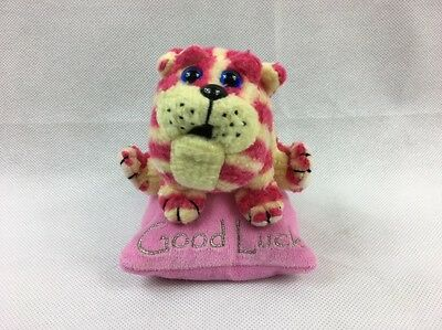 """BAGPUSS HAPPY GOOD LUCK 5"""" SOFT TOY PINK CAT on CUSHION GOLDEN BEAR"""