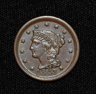 1847 LARGE CENT BRAIDED HAIR (Large Date)