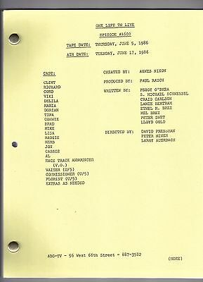 ONE LIFE TO LIVE show script # 4600