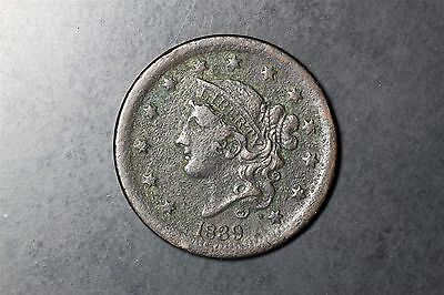 1839 Matron 1c Large Silly Head N-04 r.1 VF details corroded #146