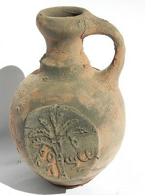 Biblical Ancient Terracotta Holy Land Pottery Jug Clay Ancient Coin Jewish Roman